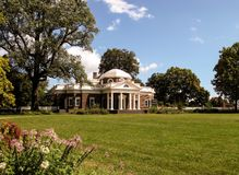 Monticello Summer. A beautiful summer view of Thomas Jeffersons home Monticello in late summer surrounded by trees and flowers Stock Photo