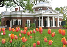 Monticello with tulips in foreground Royalty Free Stock Photo
