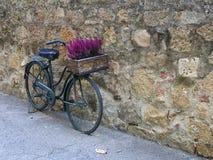 Montichiello -意大利, 2016年10月29日:有花的一辆美丽的自行车在一条静街在Montichiello,托斯卡纳 免版税库存照片