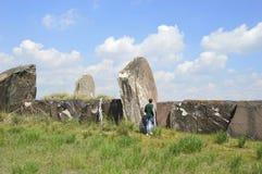 Monticule de Salbykskiy Pierres antiques dans la steppe de la Khakassie Russie Khakassia Image stock