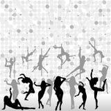 Montieren Sie Tanzenschattenbilder lizenzfreie abbildung