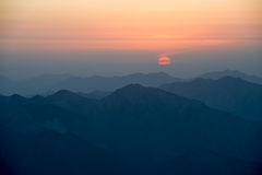 Montierunghuangshan-Sonnenuntergang Lizenzfreie Stockfotos