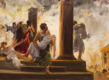 Great Fire of Rome stock photo