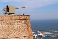 Montjuïc slott: Barcelona Spanien Arkivbilder