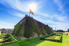 Montjuïc城堡,巴塞罗那,卡塔龙尼亚,西班牙 免版税库存照片