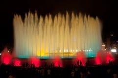 Montjuïc不可思议的喷泉。巴塞罗那,西班牙。 免版税图库摄影