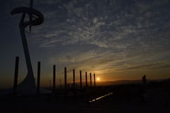 Montjuïc Communications Tower. Sunset image of Montjuïc Communications Tower, also known as Barcelona Telefonica Tower Stock Photos