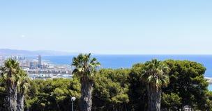从Montjuic城堡的巴塞罗那全景,与棕榈树和拜雷阿尔斯海 免版税库存照片