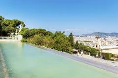 Montjuic的全国宫殿在巴塞罗那在一个晴天 免版税图库摄影