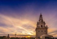 从Montjuic的巴塞罗那视图在日落 库存照片