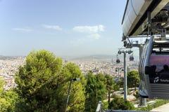 Montjuic运行与Barcelo一种风景都市风景的缆车  免版税库存图片