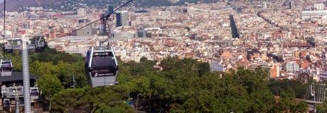 Montjuic运行与Barcelo一种风景都市风景的缆车  库存图片