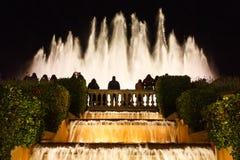 Montjuic,巴塞罗那魔术喷泉 库存照片