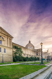 Montjuic, Barcelona. Barcelona, Spain. Famous Palau Nacional building on Montjuic hill Royalty Free Stock Photography