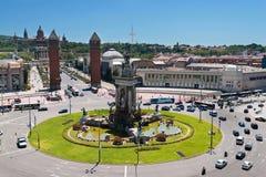 Montjuic Brunnen auf Plaza de Espana in Barcelona Stockfotos