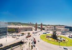 Montjuic Brunnen auf Plaza de Espana in Barcelona Spanien Lizenzfreie Stockfotos