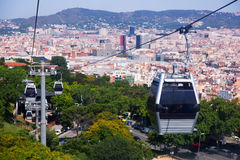 Montjuic Cable Car in Barcelona Royalty Free Stock Images