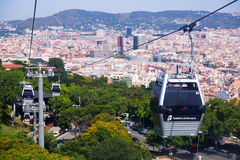 Montjuic Cable Car in Barcelona. Spain Royalty Free Stock Photo