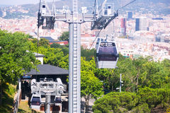 Montjuic Cable Car  in Barcelona, Spain Stock Photo