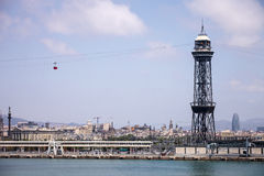Montjuic Cable Car tower Royalty Free Stock Photos