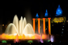 Montjuic Fountain at National art museum of Catalonia in Barcelo Royalty Free Stock Images