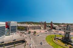 Montjuic fountain on Plaza de Espana stock images