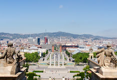 Montjuic fountain on Plaza de Espana in Barcelona Spain Royalty Free Stock Image