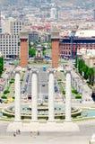 Montjuic fountain on Plaza de Espana royalty free stock images