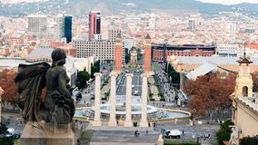 Montjuic fountain on Plaza de Espana in Barcelona, Spain royalty free stock photography