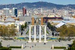 Montjuic fountain on Plaza de Espana in Barcelona, Spain Stock Photography