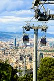 Montjuic funicular, vista panaramic de Barcelona Fotografía de archivo