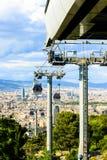 Montjuic funicular, vista panaramic de Barcelona Foto de archivo libre de regalías