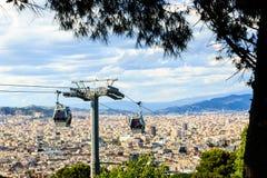 Montjuic funicular, vista panaramic de Barcelona Fotos de archivo libres de regalías
