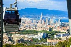 Montjuic funicular, vista panaramic de Barcelona imágenes de archivo libres de regalías