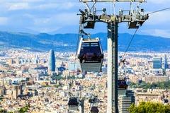 Montjuic funicular, vista panaramic de Barcelona, visión aérea Torre Agbar Foto de archivo