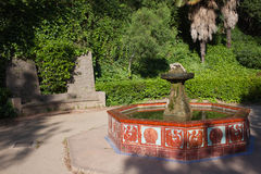 Montjuic Garden Fountain in Barcelona Stock Photography