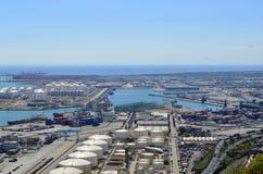 Montjuic-H?gel, Ansicht des Meeres und Industrien in Barcelona, Barcelone, Spanien stockfotos