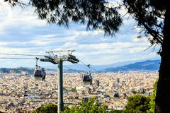 Montjuic kabel, panaramic mening van Barcelona Royalty-vrije Stock Foto's