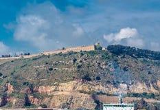 Montjuic kulle och Montjuic slott Royaltyfri Fotografi