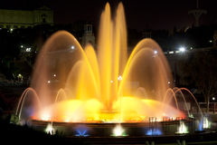 Montjuic magic fountain in Barcelona Stock Photos