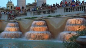 Montjuic (magic) fountain stock footage