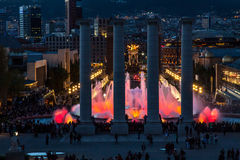 Montjuic Magic Fountain Square Stock Photo