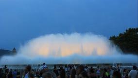 Montjuic (magische) fontein stock videobeelden