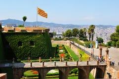 Montjuic slott, Barcelona Arkivfoto