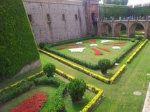 Montjuic slott i Barcelona Arkivbild