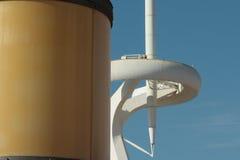 Montjuic tower and lighting columns Stock Photo