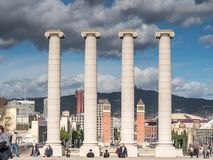The Montjuich Columns in Barcelona. Barcelona, Spain - February 4, 2017: Four columns representing the flag of Catalonia in Barcelona downtown Royalty Free Stock Images