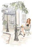 Montmarte à Paris - femme en vacances prenant le petit déjeuner illustration stock