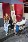 Montmarte Artist and Model Stock Photo