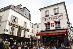Montmarte corner on a cloudy day royalty free stock image